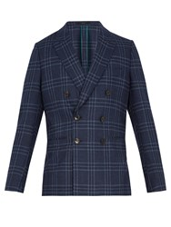 Paul Smith Soho Fit Checked Wool Blend Blazer Blue Multi
