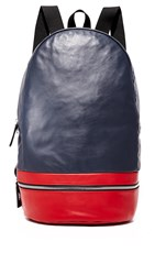 Z Zegna Popeline Leather Backpack Navy Red Grey