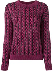 Moschino Trompe L'ail Cable Knit Jumper Pink Purple