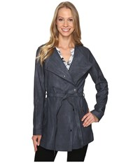 Calvin Klein Jeans Marble Wash Self Tie Outerwear Blue Nights Women's Coat