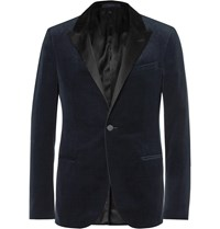 Lanvin Navy Slim Fit Satin Trimmed Cotton Velvet Tuxedo Jacket Blue