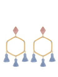 Marte Frisnes Cooper Gold Plated Tassel Earrings Pink