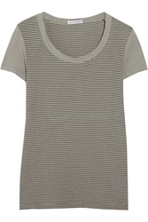 James Perse Striped Stretch Cotton Jersey T Shirt Gray