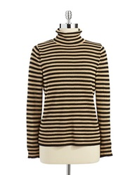 Joseph A Striped Turtleneck Gold