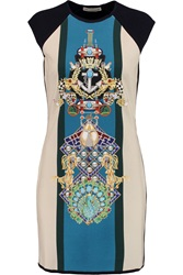 Mary Katrantzou Knipi Printed Jersey Paneled Ribbed Knit Dress Blue
