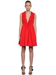 Msgm Fringed Double Crepe Cady Mini Dress Red