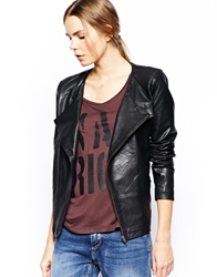 Selected Adamo Leather Jacket With Zip Pockets Black