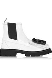 Msgm Kiltie Tassel Embellished Patent Leather Boots White