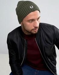 Fred Perry Logo Beanie In Green Green