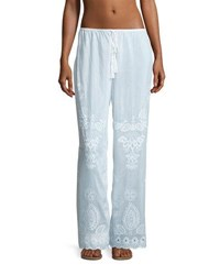Seafolly Embroidered Cotton Silk Coverup Pants White