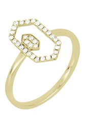 Bony Levy 18K Yellow Gold Pave Diamond Double Geo Stacking Ring Size 6.5 0.15 Ctw