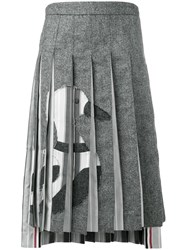 Thom Browne Frayed Duck Pleated Skirt Grey