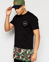Friend Or Faux Longline T Shirt Camo Cut And Sew Black Black
