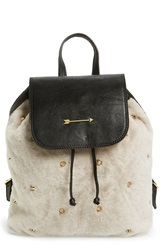 Mercules 'Greyhound' Studded Genuine Shearling And Leather Backpack Lamb Fur Black