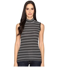 Atm Anthony Thomas Melillo Engineered Stripe Sleeveless Mock Neck Black White Stripe