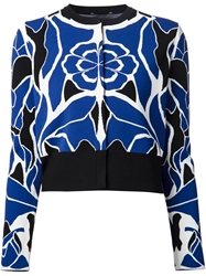 Alexander Mcqueen Flower Collage Jacquard Cardigan Blue