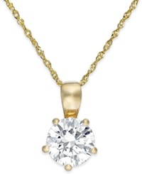 Arabella Swarovski Zirconia Solitaire Pendant Necklace In 14K Gold 2 Ct. T.W. Yellow Gold