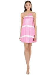 Msgm Sequined One Shoulder Mini Dress Pink White