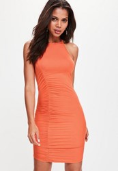 Missguided Orange Ruched Detail Jersey Bodycon Dress