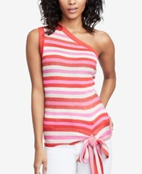 Rachel Roy Striped One Shoulder Top Radiant Red Combo