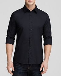Michael Kors Stretch Cotton Button Down Shirt Slim Fit Black