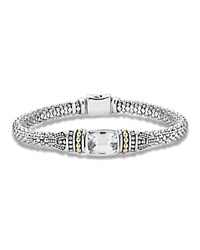 Lagos 18K Yellow Gold And Sterling Silver Caviar Color Bracelet With White Topaz White Silver