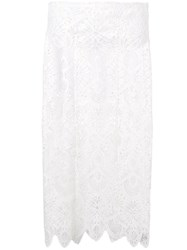 Dondup Lace Pencil Skirt White