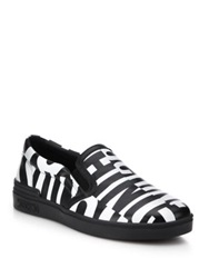 Moschino Logo Printed Slip On Leather Sneakers Black White