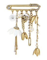 Betsey Johnson Multi Charm Pave Pin White Gold