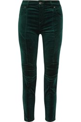 Balmain Pierre Stretch Cotton Blend Velvet Skinny Pants Emerald