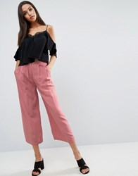 Asos Pleat Front Woven Culotte Trousers Dark Pink Multi