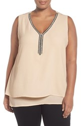 Bobeau Plus Size Women's Embellished V Neck Tank
