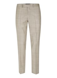 Topman Brown Stone Window Check Skinny Fit Suit Trousers