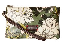 Sakroots Artist Circle Phone Charging Wristlet Olive Flower Power Wristlet Handbags Brown