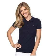 Lacoste Short Sleeve Slim Fit Stretch Pique Polo Shirt Navy Blue Women's Short Sleeve Knit