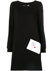 Love Moschino Envelope Pocket Dress Women Cotton Polyester 40 Black