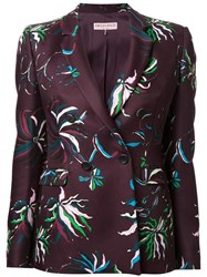 Emilio Pucci Floral Print Fitted Jacket Brown