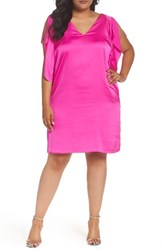 Rachel Roy Plus Size Women's Flutter Sleeve Shift Dress Bikini Pink