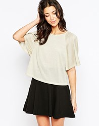 Traffic People Butterfly Kiss Top With Frill Sleeves Gold