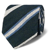 Drakes Drake's 8Cm Striped Slub Silk Twill Tie Blue