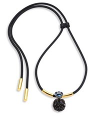 Marni Crystal Pendant Cord Necklace Black