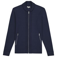 Reiss Jamison Shawl Collar Zip Cardigan Navy