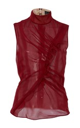 J. Mendel Sleeveless High Neck Blouse Burgundy