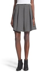 Junior Women's Painted Threads Pleated A Line Skirt Black White Stripe