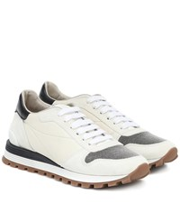 Brunello Cucinelli Embellished Leather Sneakers Neutrals