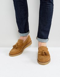 House Of Hounds Bully Suede Tassel Loafers In Tan Stone