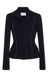 Carolina Herrera Belted Notch Collar Jacket Blue