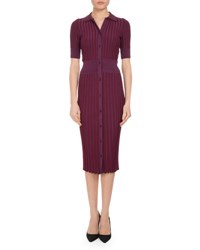 Altuzarra Olivia Short Sleeve Knit Polo Dress Pink