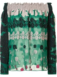 Yigal Azrouel Embroidered Off Shoulder Blouse Green