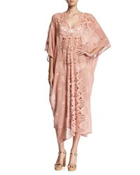 Miguelina Rachel Scallop Lace Long Coverup Caftan Brown